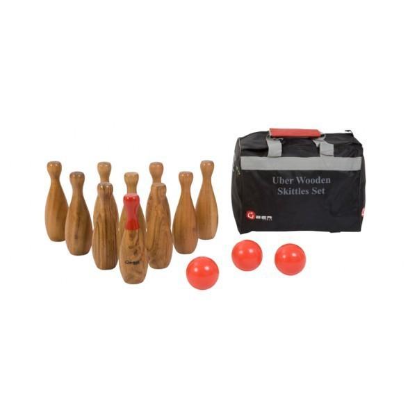 Outdoor Kegeln / Bowling aus Ökoholz - 3 Kugeln 10 Pins