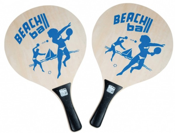 Super Beachballset - buntes Spiel Holzschläger mit Ball