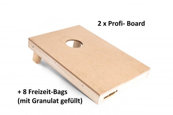 Cornhole Spielset - 2 Profi-Boards mit 8 Freizeit-Bags (Granulatfüllung)
