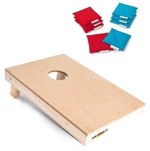Cornhole Spielset - 1 Profi-Board mit 8 Freizeit-Bags (Granulatfüllung) -