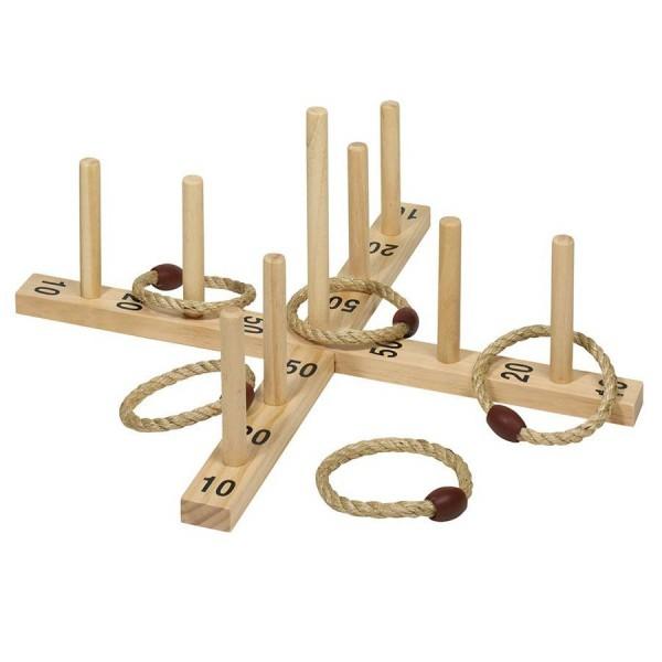 Ringwurfspiel - Sisal Ringe Holzspiel für den Garten und Outdoor
