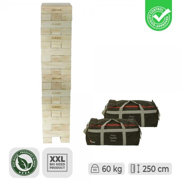 Mega XXXL 60kg Riesen Wackelturm aus poliertem Hartholz (bis zu 250cm hoch)