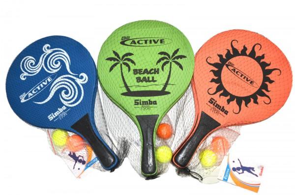 Super Beachballset - buntes Spiel Holzschläger und Plastikbälle